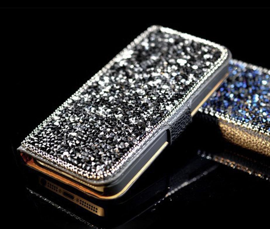 8018606ad7 Θήκη Πορτοφόλι Diamonds Ασημί - iPhone 5 5s - itrend.gr